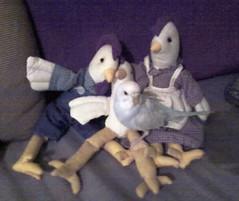 ParakeetMeetsChickens (EmBee's Web) Tags: blue pet pets white bird animal animals toys stuffed purple milo lavender budgerigar budgie parakeet petbird