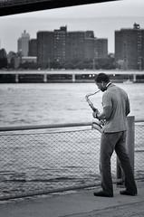 Sax (donegone) Tags: newyorkcity streetphotography brooklynbridge eastriver sax saxophone brooklynbridgepark