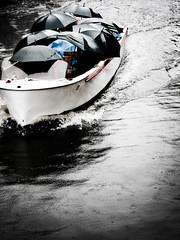 Rain or no rain (joyrex) Tags: water rain umbrella boot boat belgium brugge belgi tourists bruges umbrellas regen paraplu paraplus