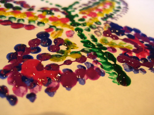 painting with cotton buds pointillism