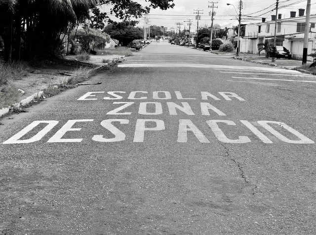 Tesoro 5/12: Letras en la calle::: Despacio, Zona Escolar, escrito en la via contrarIa!