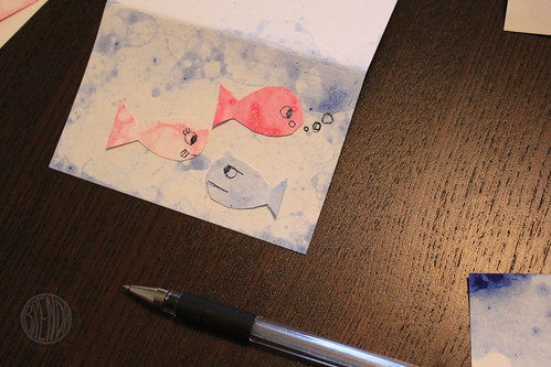 bubble fish art on a paper card