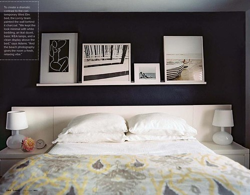 Gray + white + yellow bedroom: Benjamin Moore chalkboard paint + ikat duvet by xJavierx