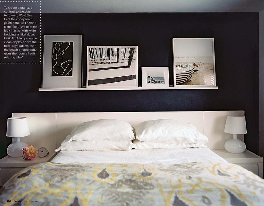 Gray + white + yellow bedroom: Benjamin Moore chalkboard paint + ikat duvet