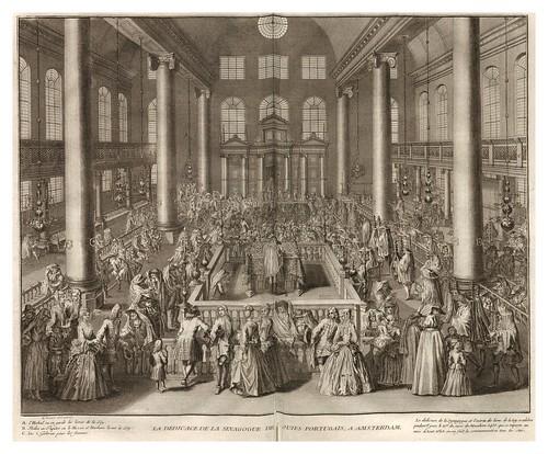 001-Sinagoga de los juidos portugueses en Amsterdam-Ceremonias et coutumes religieuses de tous les peuples du monde 1741- Bernard Picart-© Universitätsbibliothek Heidelberg