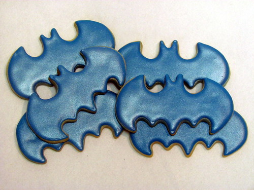 Metallic Blue Batman cookies