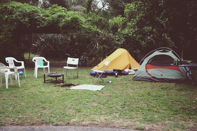 Backyard birthday campout