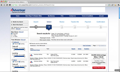 Screenshot of AAdvantage Dynamic Air booking process