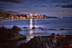 Maui, Hawaii, night beach scene (Don Briggs) Tags: ocean longexposure rocks nightlights mauihawaii donbriggs nikond5000 nightbeachscenemauihawaii