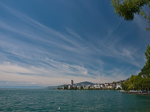 Looking across the bay to Montreux