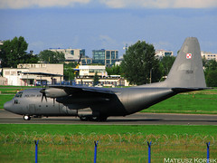 Lockheed C-130E Hercules Reg: 1501 (Korbio) Tags: plane airport force anniversary taxi air poland polish off landing take warsaw chopin lockheed inviting hercules uprising c130 residents leaflets threw commemorate 1501 c130e 67th