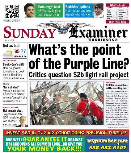 "anti-transit headline, ""What's the Point of the Purple Line,"" Washington Examiner, 7/24/2011"