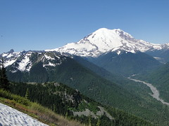 Rainier from Crystal Peak trail near snow field.