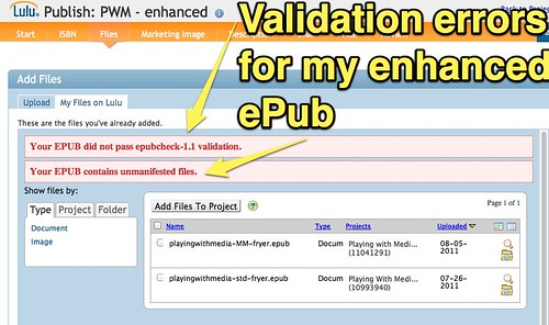 Validation Errors for my ePub