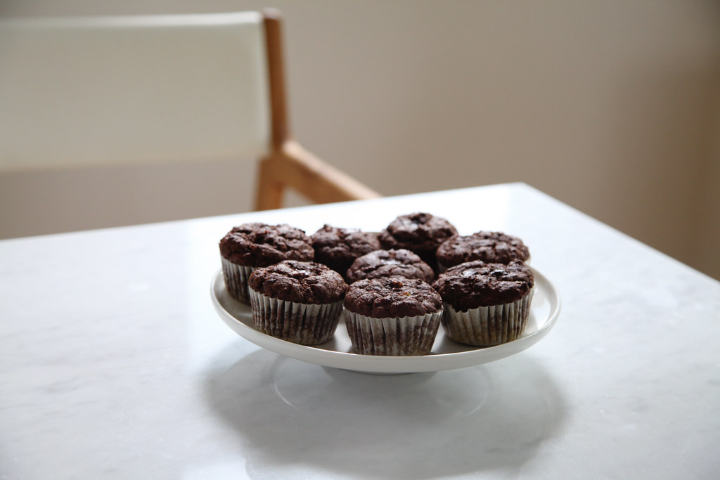 amaranth chocolate banana muffins