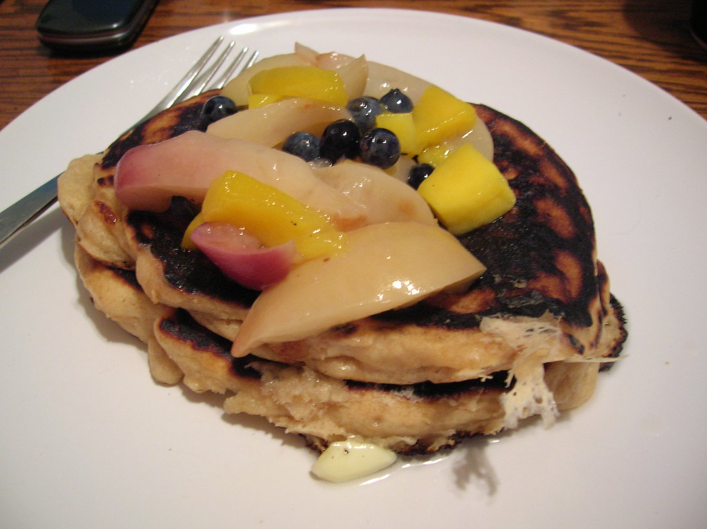 peach mango compote with yeasted pancakes