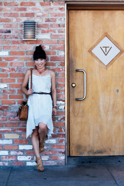 urban outfitters cope puckered frock, braided belt, boutique 9 keeva cognac caged sandals, amrita singh nello statement necklace, charlotte russe coral braided bracelet, mk5430, melie bianco madison