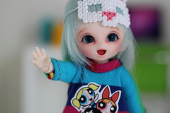 Mim - my happy girl <3 (Aya_27) Tags: cute girl smile happy bigeyes doll sweet girly happiness bjd lovely dots custom dollfie hai pong fairyland mim dollie puki pongpong normalskin pukipuki faceupbyandreja enchanted8mmeyes
