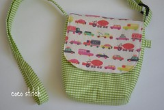 shoulder bag for children (coco stitch) Tags: boy green car children toddler pochette shoulderbag