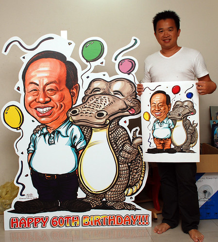 Caricature for Heng Long with crocodile printed on mobile standee 5