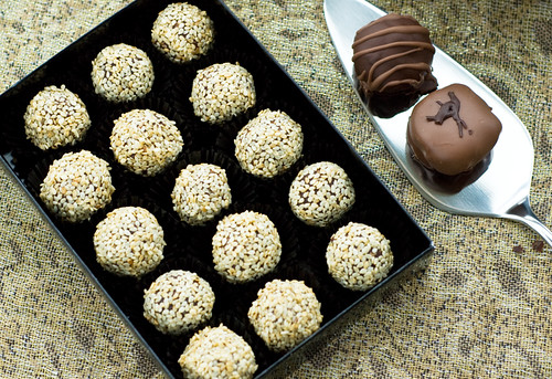 Honey and Sesame dark chocolate truffles