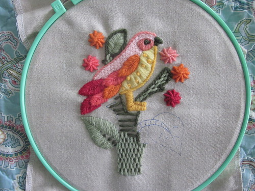 Bird Crewel Embroidery - progress