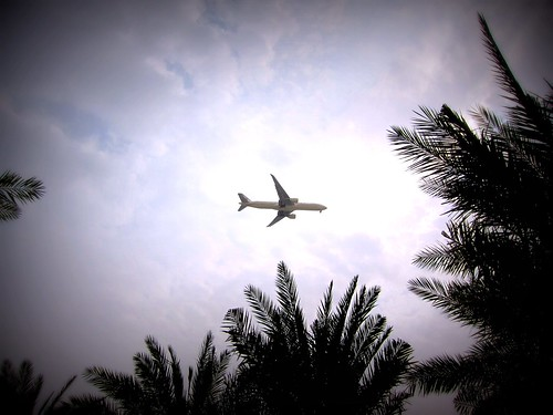 Plane over Aquarius pool bar. Yas Rotana