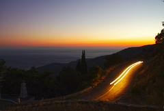 Traveller in the night (n.pantazis) Tags: longexposure blue light sunset red sea sky yellow dark evening twilight dusk trails windy headlights greece cypress curve aegeansea androw korthi