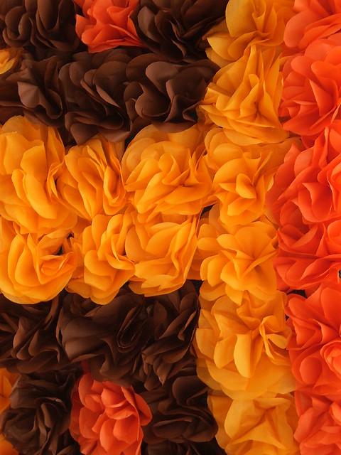 | em amarelos e laranjas |