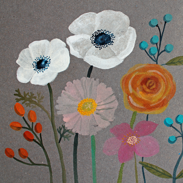 Flowers on Gray