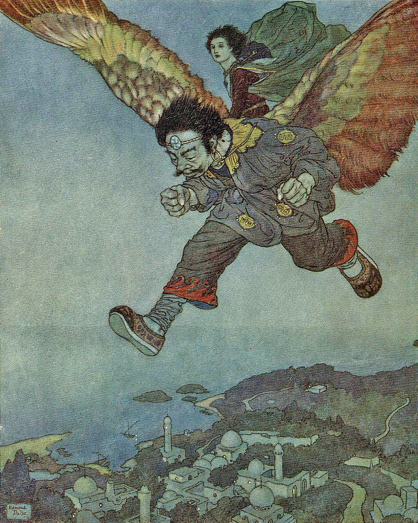 "Edmund Dulac - 'The eagle in the great forest flew swiftly,  but the Eastwind flew more swiftly still.'  from the story ""The Garden of Paradise"" in Stories from Hans Andersen (1911)"