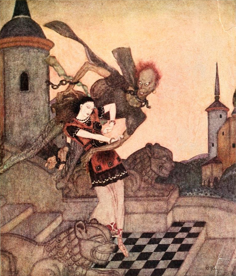 Edmund Dulac - 'The Prince, looking out, saw him snatch up  the Princess ... and soar rapidly away' from Edmund Dulac's Fairy-Book (1916)