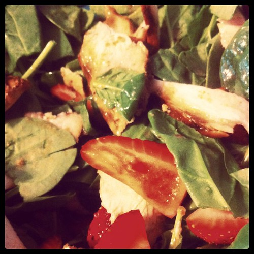 Lunch: spinach, strawberries and grilled chicken.