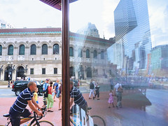 ...into the looking glass (brooksbos) Tags: city sky people urban boston reflections square geotagged ma lumix photography photo mr newengland panasonic bostonma bostonpubliclibrary copley backbay bostonist bpl masschusetts lurvely 02116 thatsboston brooksbos
