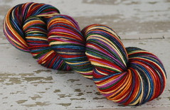 """Mardi Gras"" Self Stripping MCN Sock Yarn"