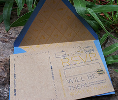 Letterpress Superhero Invitation: Julia + Johnnie (smokeproof) Tags: blue wedding brown yellow illustration halftone invitation comicbook letterpress kraft perforation chipboard smokeproof 2|0
