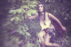 Nina | Part One (Sara Patton) Tags: trees sunset ohio portrait woman heritage lensbaby forest beads model native earth indian feathers culture nativeamerican bow land mohawk arrows warrior braids archery foxtail pocahontas hunt iroquois sweetgrass deerskin sarapatton bonechoker