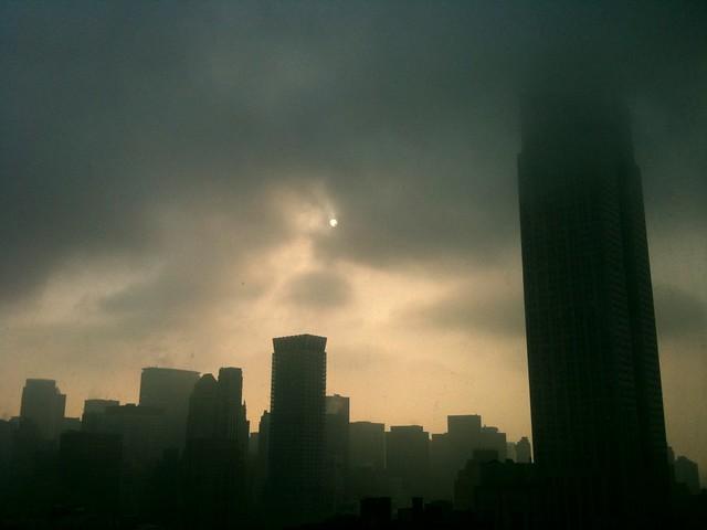hazy morning outside NYC