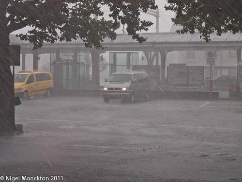 Biblical rain outside Interlaken West