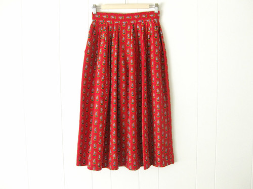 red paisley tea length skirt