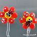 Earring : Orange Ladybug Flower Blossom