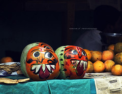 God has given you one face, and you make yourself another. (Rakesh JV) Tags: india face pumpkin funny faces market indian cheeky laugh seller tamilnadu cwc chennaiweekendclickers