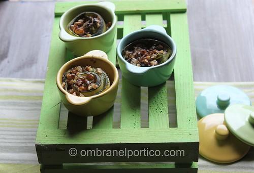 Mini cocotte zucchine, noci e crema di gorgonzola