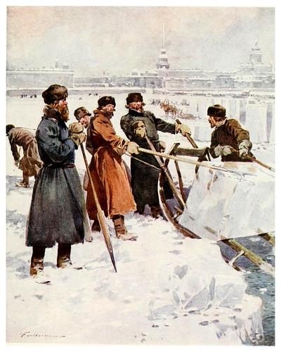 001Cortando hielo en el Neva-Russia-1913- F. de Haenen