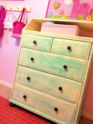 aqua shabby dresser