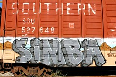 SIMBA (KNOWLEDGE IS KING_) Tags: hairy art car yard train bench one graffiti paint steel painted tracks rail railway sunny canvas southern study socal crew age hundred stoned production 100 boxcar simba piece burner bomb freight rolling spraycan percent the 2011