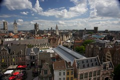 Ghent from castle (Vironevaeh) Tags: city castle square europe belgium lookingdown oldtown ghent europeancity elevatedview viewfromcastle