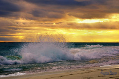 Sunset Wave (Imagevixen1) Tags: ocean travel sunset sea sky sun seascape color tourism beach nature water beauty landscape coast sand solitude paradise surf waves escape view australian culture australia scene tourist panoramic romance coastal shore tropical coastline leisure serene relaxation seashore idyllic vacations deserted climate tranquil bestcapturesaoi ringexcellence dblringexcellence ayrphotoscontestsummercolors