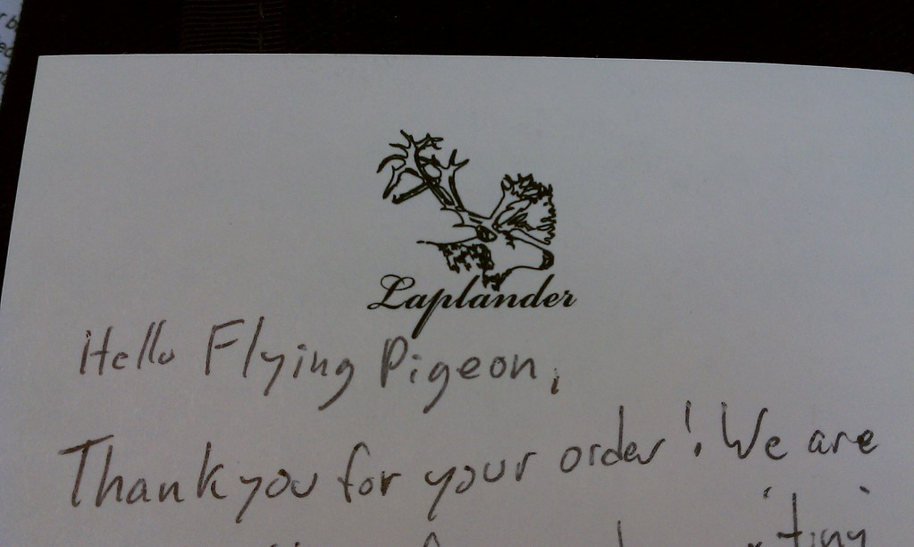 Laplander bags thank you note to Flying Pigeon LA