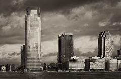 Jersey City Morning (Jay Fine) Tags: sky sepia clouds jerseycity cityscape nj colgateclock goldmansachstower colorefexpro silverefexpro
